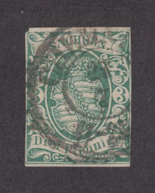 Saxony Sc 2 1851 2a Green Coar Of Arms,  Chemnitz Cds,  4 Margins photo