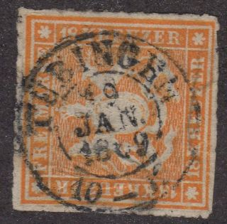 Wurttemberg German States Cv £1400 Sg71 & Lovely Cancel Rouletted 10 photo