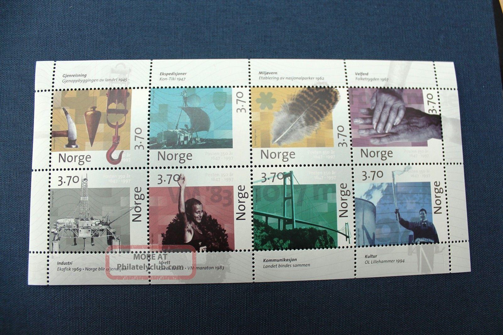 Norway Minisheet 1997 350th Anniversary Of The Norway Post Europe photo