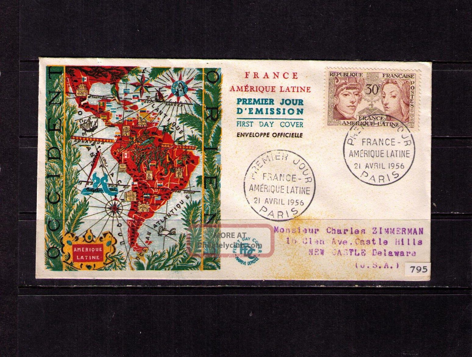 France Sc 795 Yt 1060 Fdc Fvf Map Of South America Europe photo