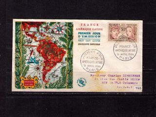France Sc 795 Yt 1060 Fdc Fvf Map Of South America photo