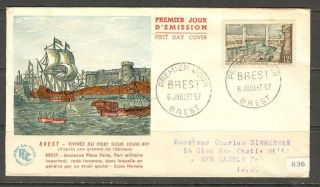 France Sc 836 Yt 1117 Fdc Fvf Brest Ships Bridge Boat photo