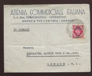 Eritrea Bma 1948 Kg6 65c On 8d Advert Envelope Solo Franking To London photo
