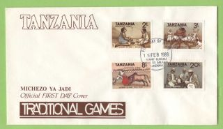 Tanzania 1988 Traditional Games Aet On First Day Cover photo