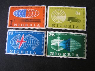 Nigeria,  Scott 114 - 117 (4),  1961 Nigeria ' S Admission To U.  P.  U Issue Mvlh photo