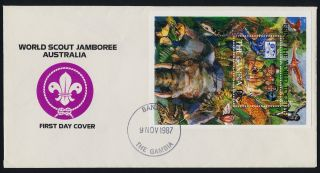 Gambia 708 On Fdc - Scouts,  Elephant,  Birds,  Insects,  Snake,  Crocodile photo