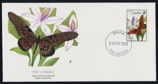 Gambia 836 On Fdc - Butterfly,  Flowers photo
