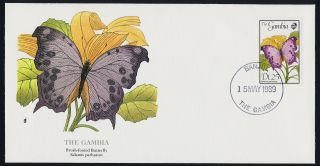 Gambia 839 On Fdc - Butterfly,  Flowers photo