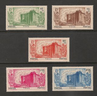 Togo B2 - B6 Vf Mvlh - 1939 45c+25c To 2.  25fr+2fr Fr.  Revolution - Scv $47.  50 photo