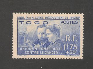 Togo B1 Vf Lh - 1939 1.  75fr+50c Madame Curie - Scv $20.  00 photo
