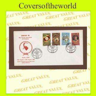 Zimbabwe 1982 Scouts Zimfari 82 ' Great Rua Park Camp Cover,  Red Design photo
