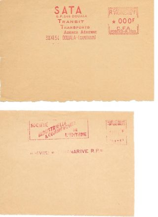Madagascar: 2 Proof Of Franking Machine With Advertiser,  Regular photo