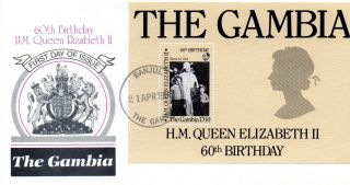 Gambia 1986 Hm The Queen 60th Birthday D10 Minature Sheet On First Day Cover Shs photo