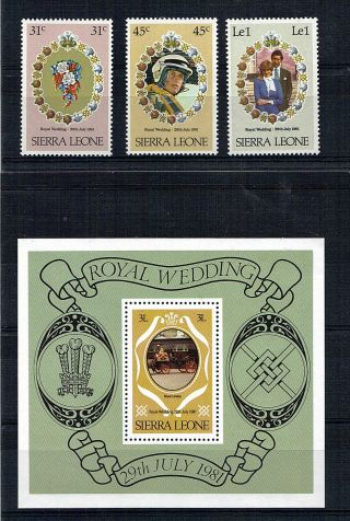 Sierra Leone 1981 Royal Wedding All 3 Commemoratives & The Miniature Sheet photo