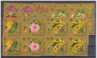 Burundi Flowers - 9 Blocks@4vals - Imperforated - Cat140$ - 1966 - Nondentelés - Fleurs photo