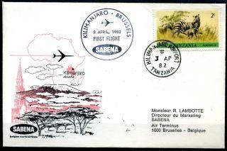 L138 / First Flight Cover Tanzania 1982 Sabena Kilimanjaro Airport First Flight photo