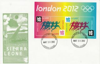 Sierra Leone 2012 Fdc London Olympics 4v Sheet Cover Games Olympiad Athletics photo