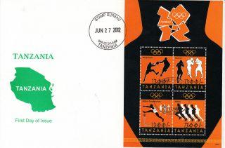 Tanzania 2012 Fdc London Olympics 4v Sheet Cover Games Basketball Boxing photo