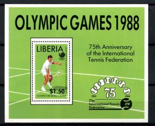 Liberia 1988 Sg Ms1702 Olympic Games,  Tennis M/s A32541 photo
