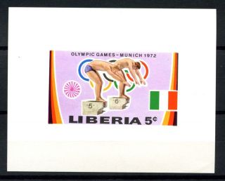 Liberia 1972 Sg 1107 5c Swimming Proof Sheet A32563 photo