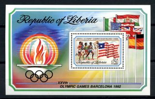 Liberia 1992 Sg Ms1819 Olympic Games M/s A32542 photo