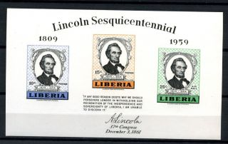 Liberia 1959 Sg Ms824 Abraham Lincoln Imperf M/s A32474 photo