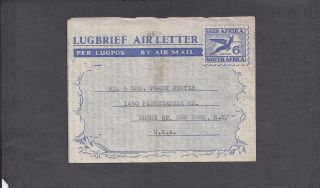 1949 6d Airletter - Natal,  S.  Africa To Bronx,  York photo