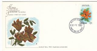 (22389) Fdc Ghana - Scarlet Bell Tree - 1982 photo