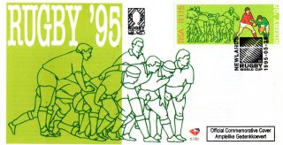 South Africa 1995 Rugby World Cup Unaddressed First Day Cover Shs photo