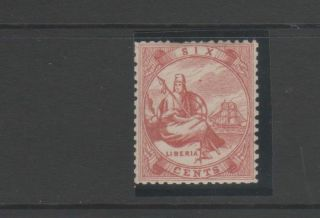 Liberia 1860 ' S 6c Red,  - Perf Faults photo