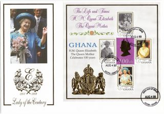 (17991) Mercury Large Format Minisheet Fdc Ghana - Queen Mother 99th Birthday photo