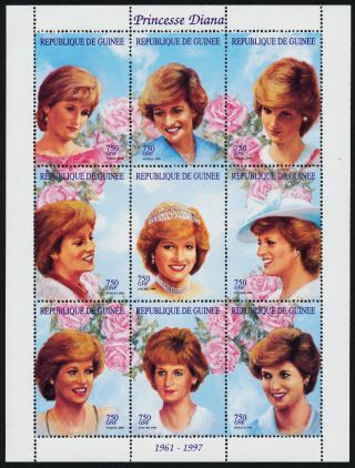 Guinea Mi2066 - 74 Princess Diana,  Flowers photo
