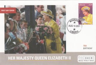 (18020) Mercury Fdc Liberia - Queen Elizabeth 75th Birthday 2001 photo