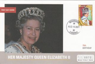 (18022) Mercury Fdc Liberia - Queen Elizabeth 75th Birthday 2001 photo