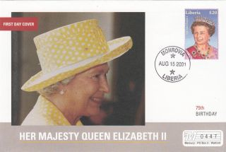 (18023) Mercury Fdc Liberia - Queen Elizabeth 75th Birthday 2001 photo