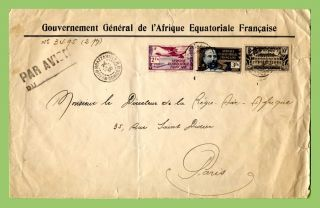 Congo 1938 Govt.  Airmail Cover,  Brazaville To Paris,  2f 3f And 10f photo