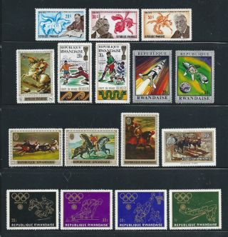 Rwanda - - Clearance - - 16 Different Mh From 1969 - 71 - - Opening Bid 1c photo