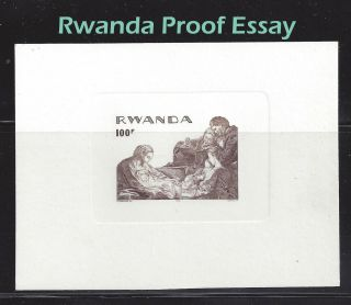 Rwanada Presentation Proof Engraved Essay 1974 Christmas Imperf Nativity Scene photo