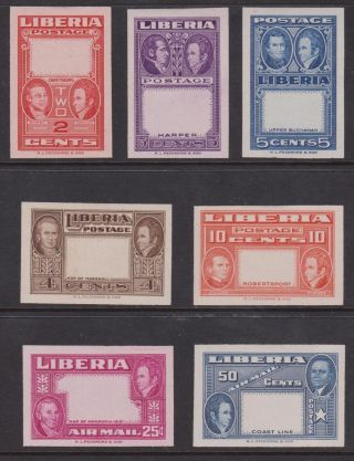1952 Liberia Sc 332 - 337 & C68 - C68 Imperf Proofs With Vignettes Omitted,  H photo