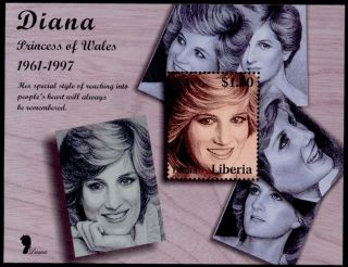 Liberia S/s Princess Diana,  Line Drawing photo