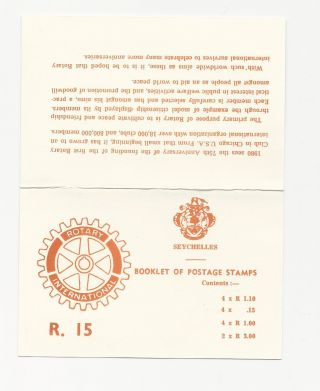 Seychelles Rotary 1979 Stamp Booklet Scott ' S 390,  396,  444,  446 photo
