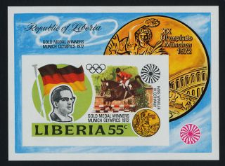 Liberia 622 Imperf Olympics,  Flag,  Horse,  Medal photo