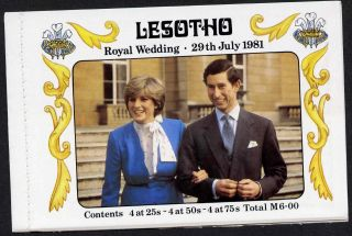 Lesotho 337d Booklet Royalty Charles & Diana Wedding photo