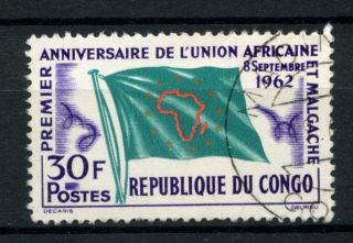 Congo Brazzaville 1962 Sg 25 Union Of African & Malagasy Flag A39138 photo