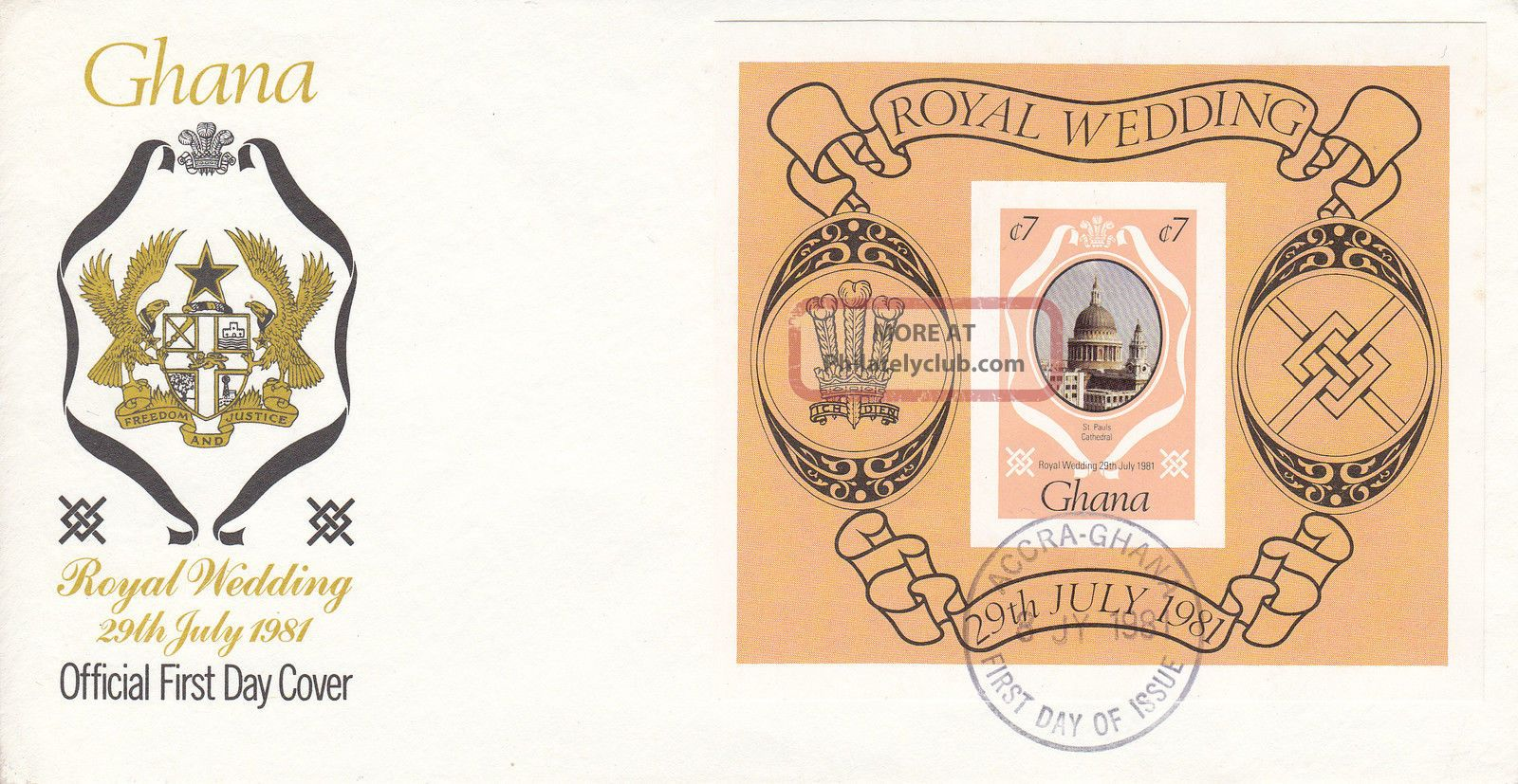 1981 Ghana Royal Wedding Imperf M/s Fdc Africa photo
