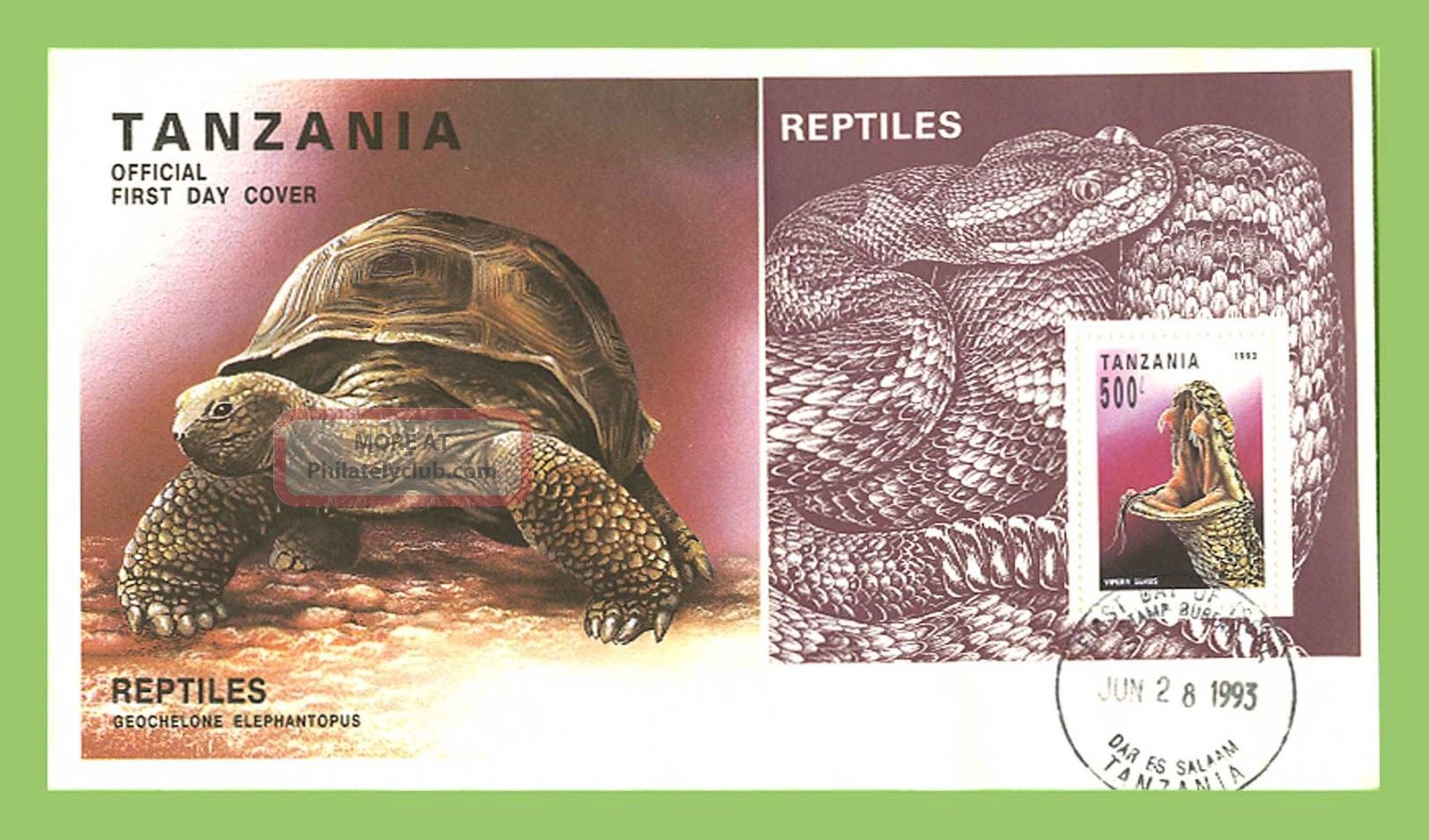 Tanzania 1993 Reptiles,  Snake Miniature Sheet On First Day Cover Africa photo