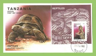 Tanzania 1993 Reptiles,  Snake Miniature Sheet On First Day Cover photo