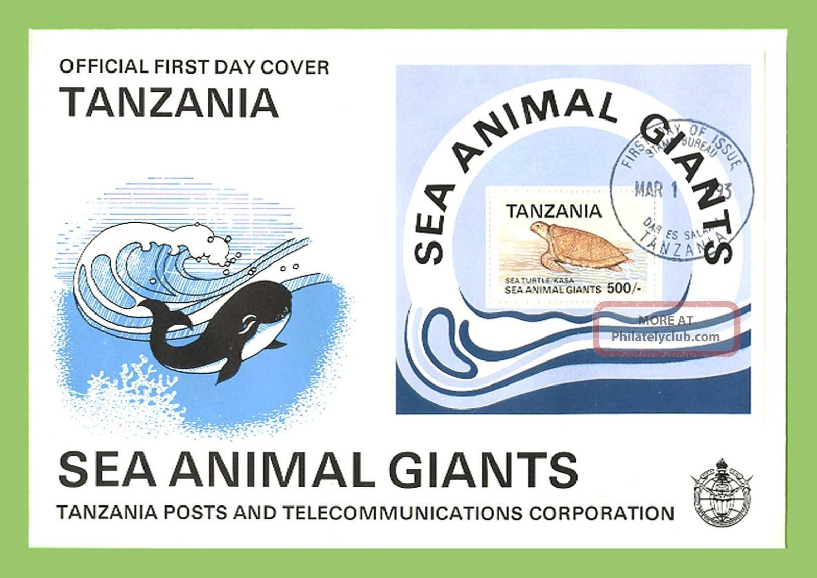 Tanzania 1993 Sea Giants,  Sea Turtle Miniature Sheet First Day Cover Africa photo