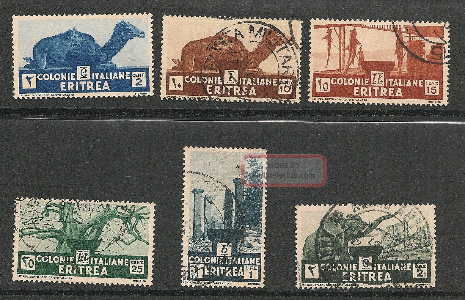 Eritrea 1934 Sc 158,  160 - 62,  164 - 65,  Hinged Africa photo