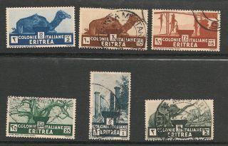 Eritrea 1934 Sc 158,  160 - 62,  164 - 65,  Hinged photo